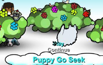 Žaidime šuo seklys ieško kitų šuniukų.