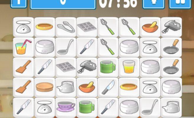 Virtuvės indai žaidime Mahjong.