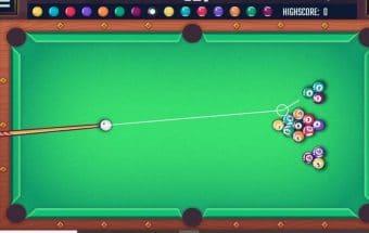 Biliardo žaidimas dviems, reikia sumušti kamuolius į skyles.