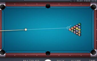 Biliardo žaidimas online, reikia pataikyti kamuoliuką į stalo skylę