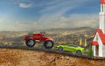 Greičio ir kliūčių žaidimas su automobiliu