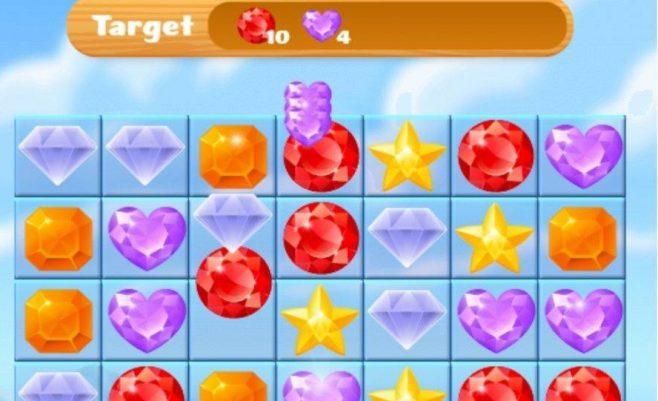 Sujunk 3 loginis žaidimas su deimantais.