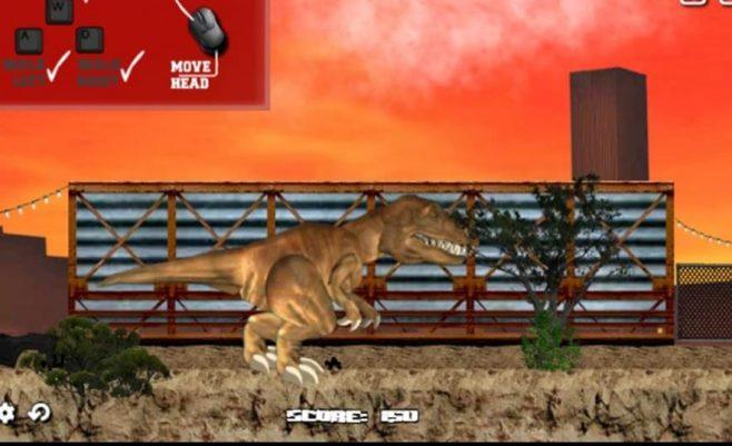 Misijų žaidimas dinozauro užpuolimas kelyje.