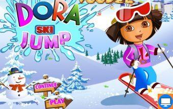 Žaidimas mergaitėms Dora ant sniego su snieglente.