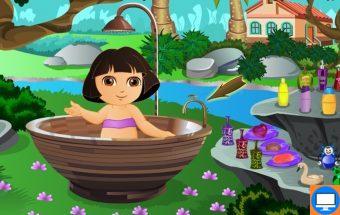 Dora žaidimas mergaitėms - Dora eina maudytis. Dora šiame žaidime sėdi vonioje o jums reikia paduoti tinkamus balzamus