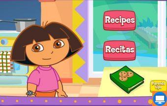 Mergaičių žaidimas Dora gamina valgyti.
