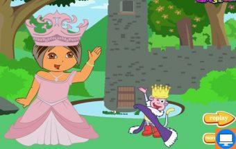 Žaidimas vaikams apie Dorą Princesę. Mažoji Dora tapo nuostabios pilies princese ir Jūs galite jai padėti tinkamai pasipuošti šia proga.