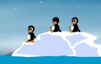 Žaidimas dvynių šūvis. Dvyniai pingvinai šaudo su strėlėmis. Šiame žaidime galite pasirinkti keliese norite žaisti.