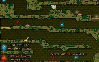 Fire Boy and water girl - Žaidimas apie tai kaip ugniukas gelbėja mergaitę. Jums reikia judėti labirintais pasirinkus klaviatūrą. Įveikit barjerus ir visas kliūtis