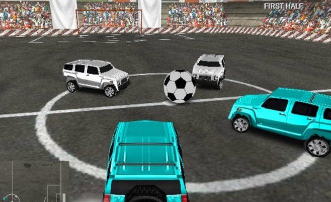 Mašinų futbolas, varžybos su didelėmis mašinomis