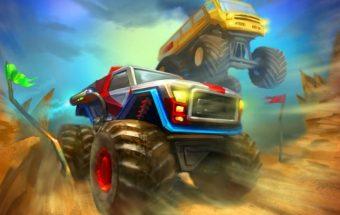 Sunkvežimių monstrų lenktynės. Galingi keturračiai kuriuos reikia vairuoti.