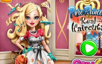Pasirinkite šukuosenos paveiksliuką, žaidimas apie Princeses