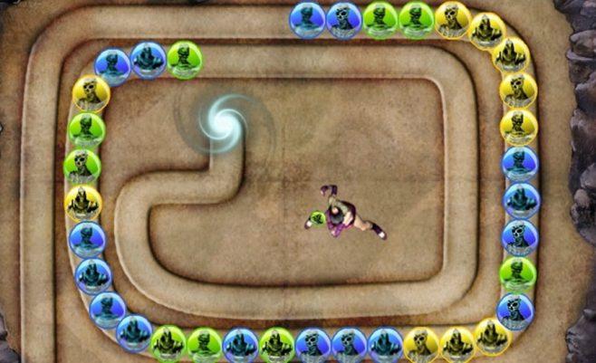 Zuma deluxe žaidimas kuriame sunaikink vienos spalvos figūrėles