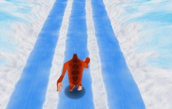 Yeti karalius bėga per sniegą.