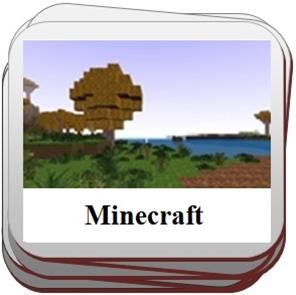 Žaidimai su Minecraft grafika.