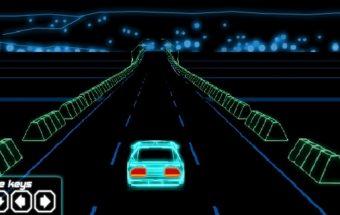 Auto lenktynės su neonine mašina
