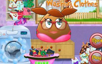 Pou mergaičių žaidimas, Pou skalbiasi savo drabužėlius