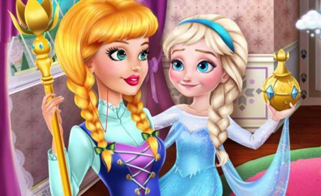 Žaidimas mergaitėms su Princesėmis - Princesė Frozen ir išdaigos.