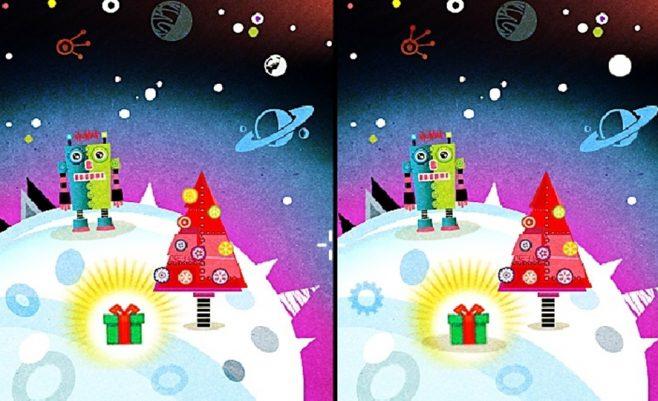 Šv. Kalėdų žaidimas apie skirtumus ir robotuką.