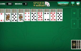 Kortų žaidimas: Spider solitaire.