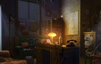 Detektyvų žaidime detektyvas ieško daiktų