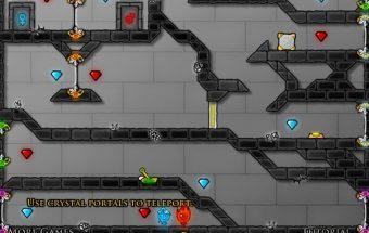 """Ugnius ir vandenė - Žaidimas dviems """"Fireboy and Watergirl"""". Įveikite ledą ir vandenį. Galima žaisti dviese ir vienam."""