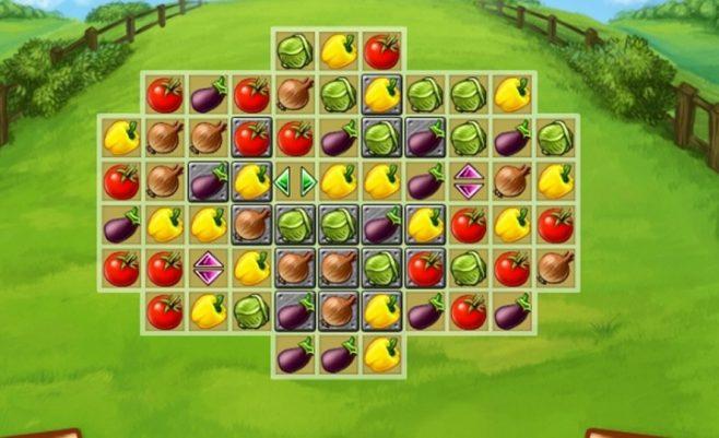Loginis žaidimas sujunk daržoves - Ūkio derlius