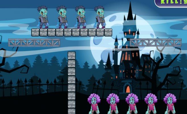 Šaudymas į zombius per Heloviną.