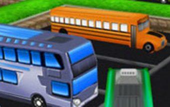 Mašinų žaidimas su autobusais. Autobuso vairavimas, kuriame reikia pastatyti autobusą į vietą.