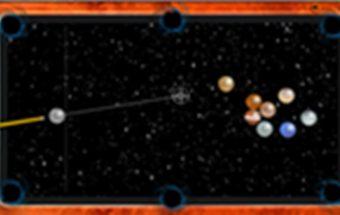 Biliardas online - biliardas kosmose. Žaidimas kuriame reikia mušti biliardo kamuolius.
