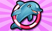 Žaidimas mergaitėms apie delfino pasirodymą baseine.
