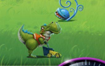 Žaidimas Android telefonui - Dinozauras Dino pjauna žolę.