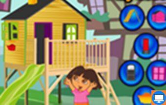 Žaidimas apie mergaitę Dorą kuriame reikia kurti namą.
