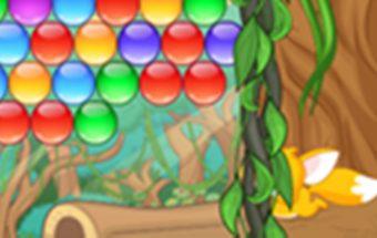 Vaikiškas žaidimas - Džiunglių burbuliukai. Reikia šaudyti į burbulus
