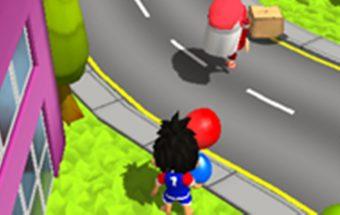Lenktynių žaidimas apie berniuką kuris bėga išgelbėti mergaitę. Mėto burbuliukus ir balionus kad pašalintų kliūtis.
