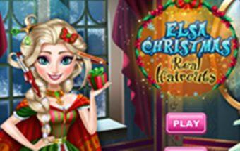 Elsos Šventų Kalėdų šukuosena - žaidimas skirtas mergaitėms.