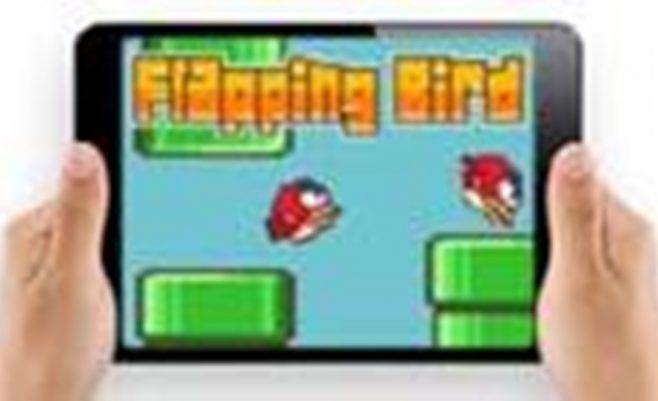 Žaidimas telefone - Flapping bird, skrisk ir nepataikyk į kliūtis