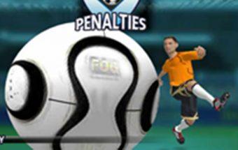 Sportinis žaidimas apie futbolą, reikia pataikyti į vartus