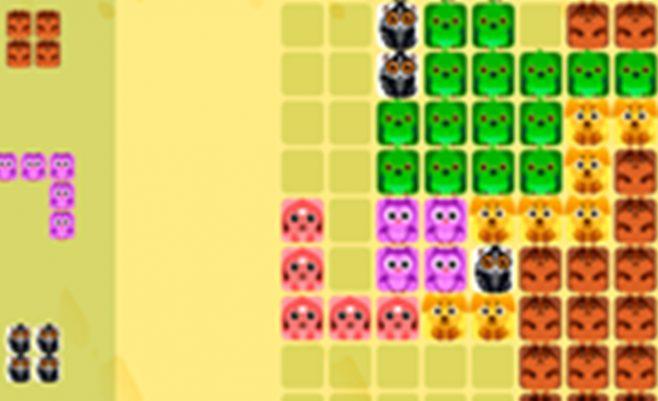 Loginis Tetris su gyvūnų paveiksliukais.