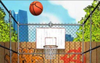 Krepšinio žaidimas. Krepšinio varžybos kas daugiau kartų pataikys į krepšį.