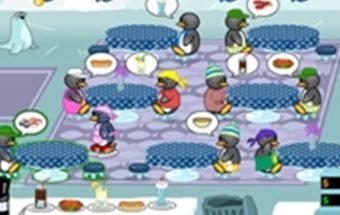 Loginis žaidimas apie Pingvino kuris dirba kavinėje pietus.