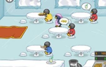 Loginis žaidimas - Pingvino pietūs. Pingvinas turi aptarnauti savo kavinės lankytojus.