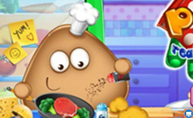Mažasis Pou darbuojasi virtuvėje - maisto gaminimo žaidimas.