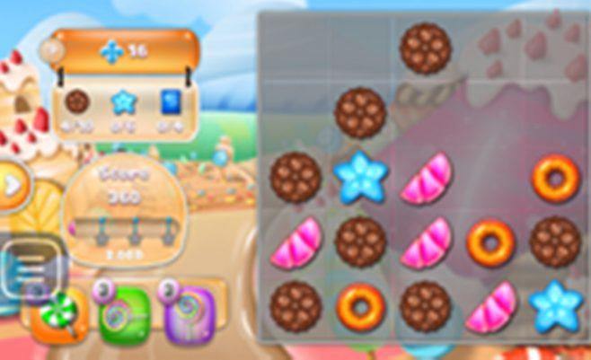 Loginis Jelly Karalystė žaidimas. Tai panašus į sujunk 3 žaidimų seriją turinti žaidimas. Sunaikink vienodus saldainius pereik visus 20 kambarių kad atrakinti karalystę.