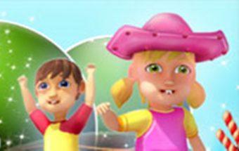 """Saldainių vaikai renka saldainius žaidime - """"Candy Rush""""."""