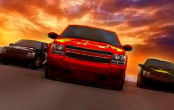 Sunkvežimių lenktynių žaidimas apie Pikapus. Mašinos Pikapai lenktyniauja uždarame ralyje.
