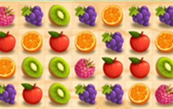 """Vaisių žaidime sujunk 3 ir daugiau vaisių į liniją. Loginis žaidimas panašus į """"Candy Crush""""."""